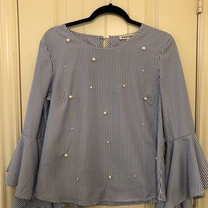 Stripped top with pearls
